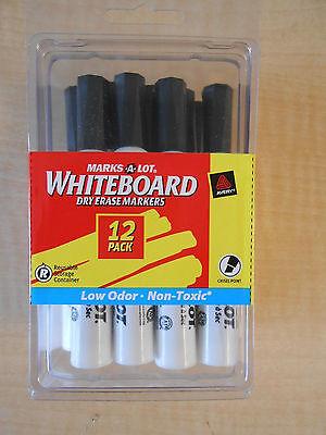 Avery Marks-a-lot Whiteboard Dry Erase Marker -chisel -black Ink -12pk