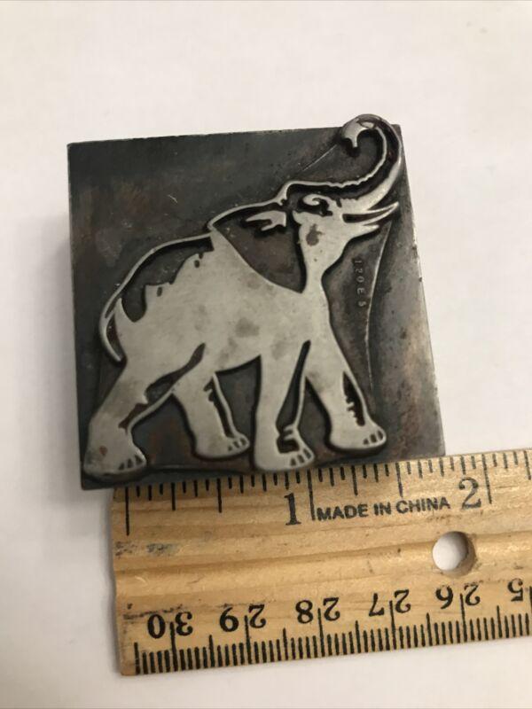 Vintage Letterpress Printing Block Elephant