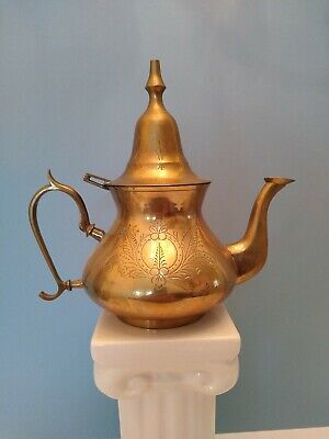 Vintage Brass Teapot With Hinged Lid And Pointed Finial In Middle Eastern Style.