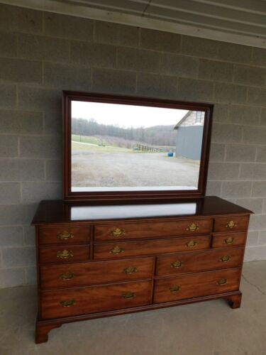 Henkel Harris Cherry Chippendale Style Dresser and Mirror 66w