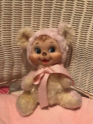 Rushton Company Crying Mini Bear - rubber face plush toy pink and yellow 1950