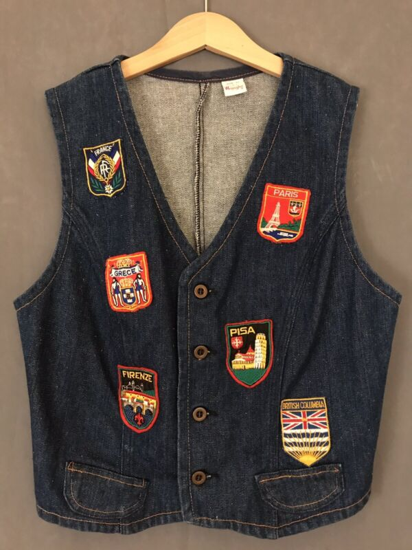 Vintage 1980s Wrangler Vest With Travel Patches Size Youth Medium Made In USA