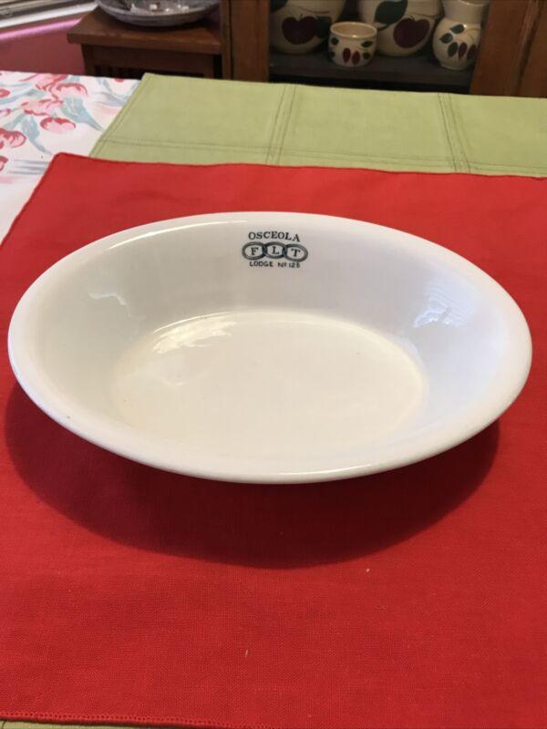 Vintage Masonic FLT bowl Oval Osceola  lodge No 125 Clean Heavy