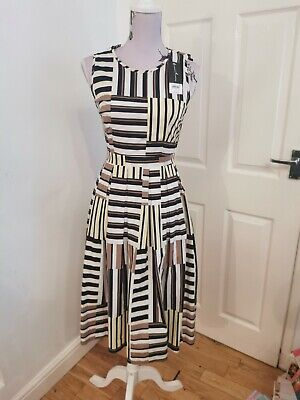 Dorothy Perkins Yellow black Stripe Dress office work occasion bnwt size 8