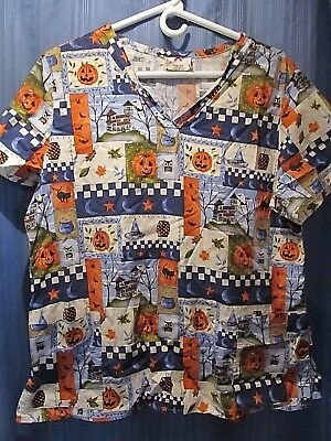 White Cross Scrub Top Halloween Pumpkins Owl Bats Pattern! Sz Large 100% Cotton! - Large Halloween Pumpkin Patterns