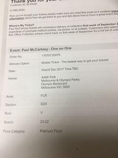 Paul McCartney one on one concert 6th dec