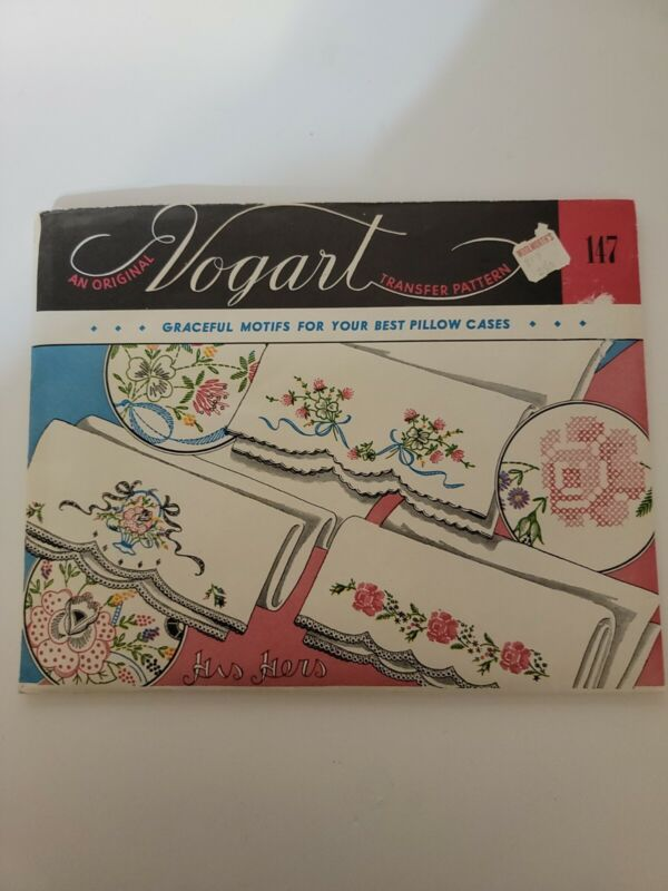 Vintage VOGART Embroidery Transfer Pattern 147 His Hers Pillowcases Cut