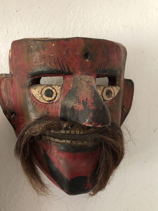 "Mexican/Sierra De Puebla  wood Dance Mask ""Patron"""