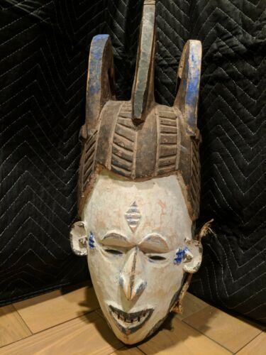 Igbo Maiden Spirit Helmet Mask with Pigments — Authentic Carved Wood African Art