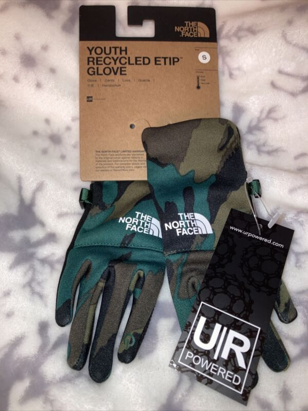 THE NORTH FACE Youth Recycled Etip Glove Evergreen Mountain Camp Camouflage NWT!