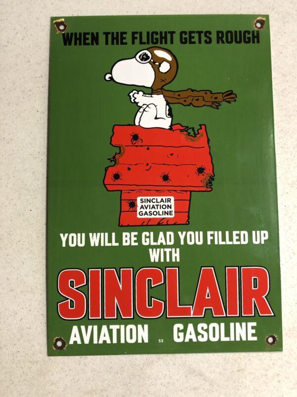 "VINTAGE DATED 1953 SINCLAIR AVIATION GASOLINE 15"" PORCELAIN METAL GAS OIL SIGN!"