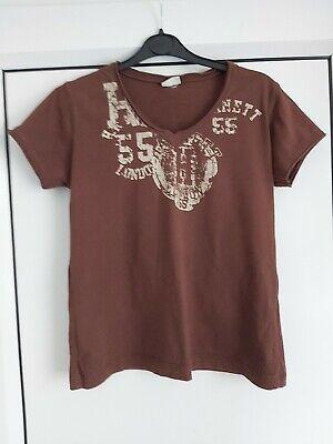 Katharine Hamnett - Size 14 brown slogan short sleeve t-shirt