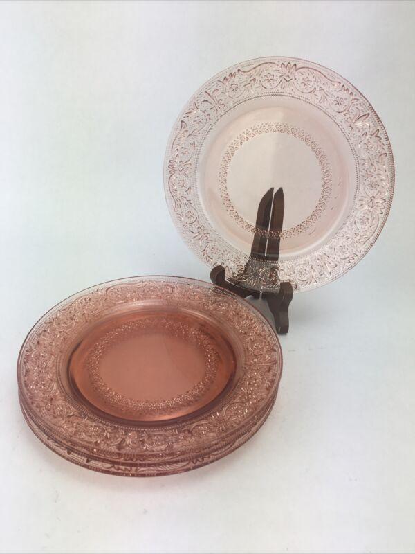 KIG Indonesia Pink Depression Fleur de Lys Pressed Glass 4 Salad Dessert Plates