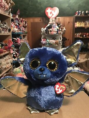 "Ty OZZY -Royal Blue/Gold Halloween Bat 10"" Exclusive Beanie Boo Buddy! *Retired* - Blue Buddies Halloween"