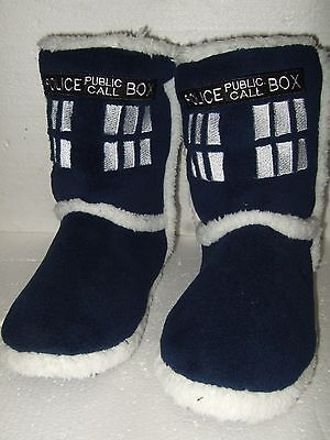 NWT Adult Small 5-6 Doctor Who Tardis Police Call Box Plush Sherpa Boot Slippers
