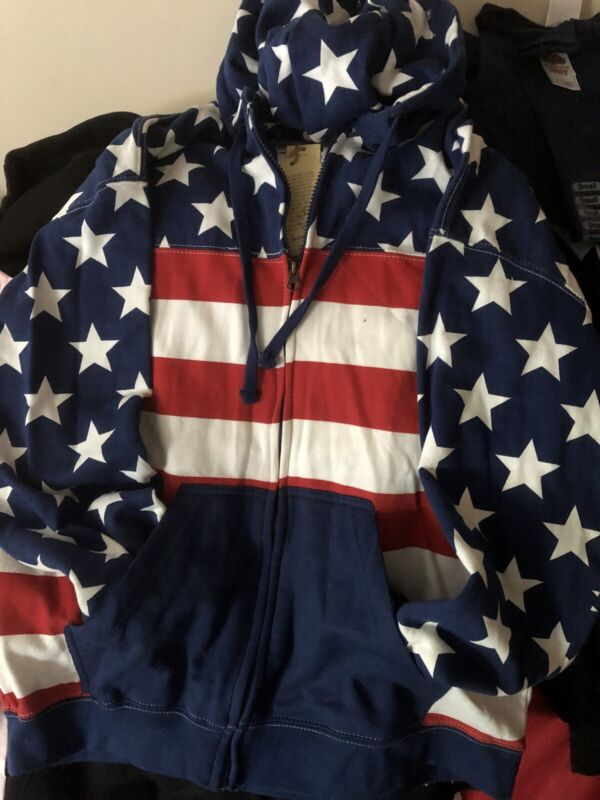 XXL 🇺🇸 USA Vintage Flag And Star Sweatshirt [UNISEX] full zipper Double packet