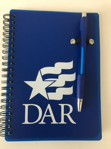 DAR Daughters of the American Revolution Spiral Lined Notebook w/ Pen - NEW