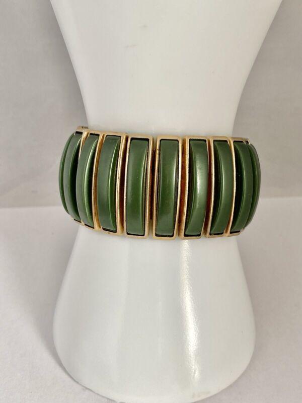 Vintage Gold Tone Expansion Bracelet Wide Design Jade Green Plastic Trim