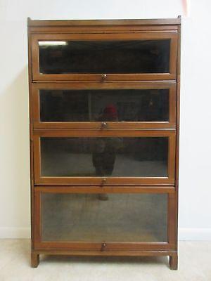 Vintage Walnut Knock Down Barrister Book Case Shelf display 4 Section Stack H