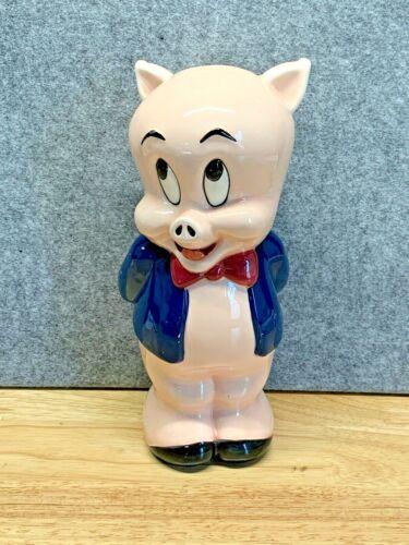 Vintage 1994 Warner Brothers Porky Pig Porcelain Piggy Bank AS SEEN