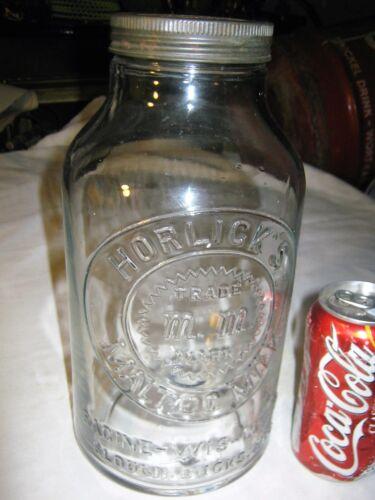 ANTIQUE USA COUNTRY PRIMITIVE HOOSIER HORLICKS MALTED MILK GLASS TIN JAR BOTTLE