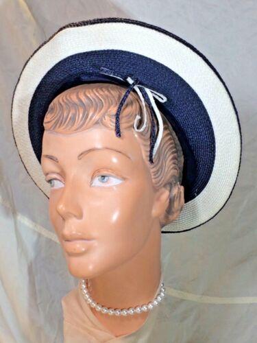 Vintage blue Halo Hat beret Straw cap Striped white Circle velvet Deborah 50s