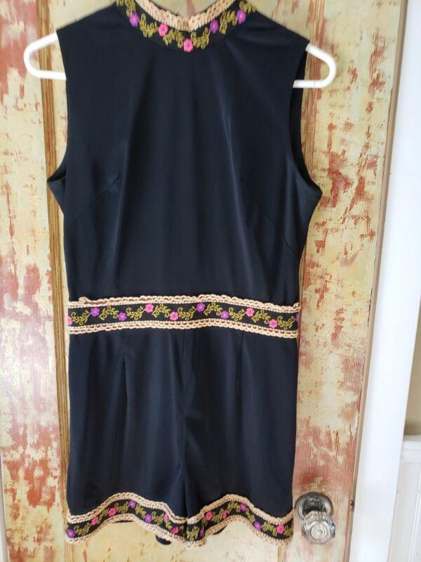70s Vintage Sexy Embellished BLACK PLAYSUIT ROMPER BODYSUIT HOT PANTS Dance sz M