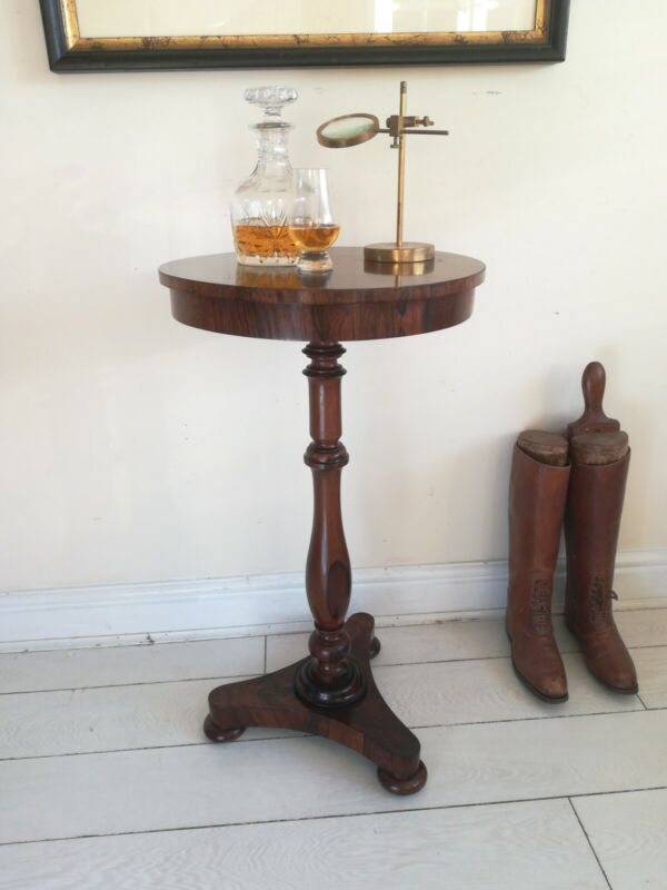 Antique Regency Rosewood Wine Lamp Table French Polished Turned Stem Bun Feet
