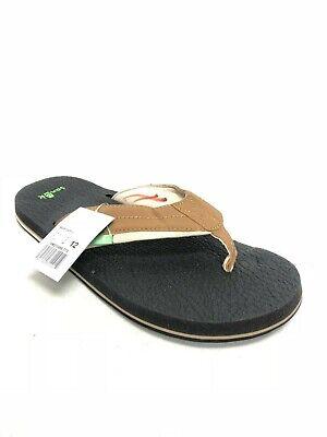 Sanuk Men's Beer Cozy 2 Tan Tobacco Flip Flops Sandals Yoga Mat SMS10868 Beer Flip Flops Sandal