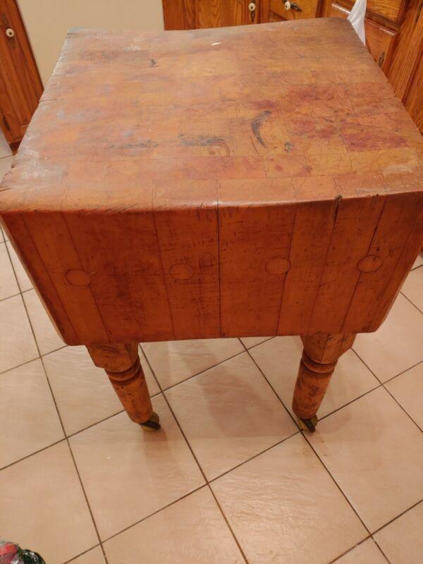 Authentic antique Vintage Maple Butcher Block Table.