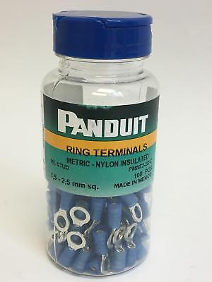 Lot of 100 Panduit Nylon Insulated Ring Terminals PN14-8RX-C 16-14 AWG