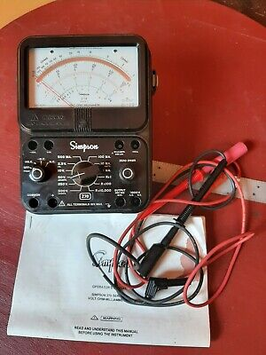 Simpson Model 270 Analog Meter Multimeter Leads Volt Ohm Milliammeter Electrical