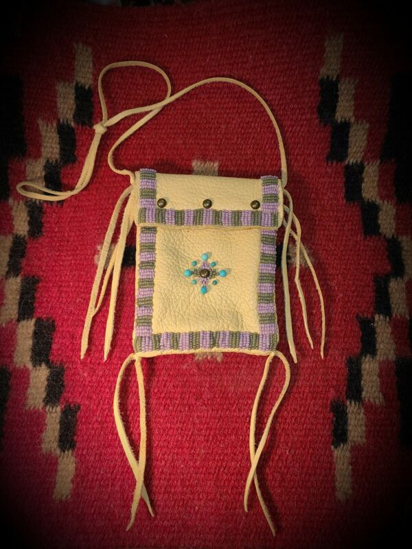 Traditional Beaded Medicine Bag - Fancy Round Turquoise Beads