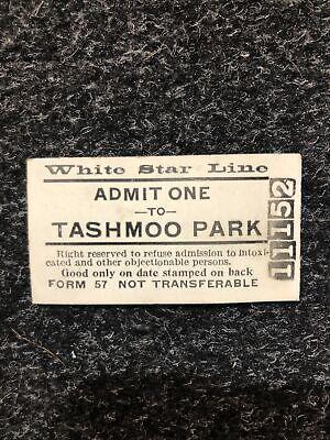VTG 1914 DETROIT WHITE STAR STEAMSHIP LINE TASHMOO PARK TICKET STUB
