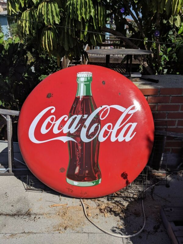 VINTAGE ADVERTISING PORCELAIN COCA COLA COKE BUTTON SIGN 48""