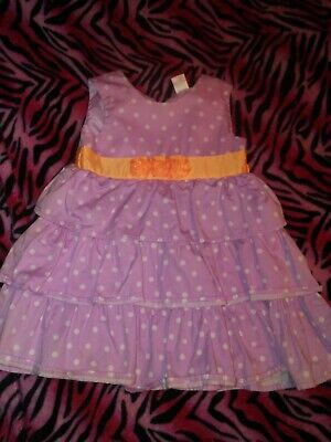 toddler girl dress 2t light purple with white dots and orange flower ](White And Purple Flower Girl Dresses)