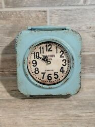 Old Town Style Metal Clock Double Sided Distressed Light Blue Vintage Look