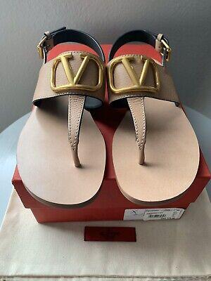NIB $775 Valentino Garavani VLogo Flat Leather Thong Sandals - Sz 39 Eu