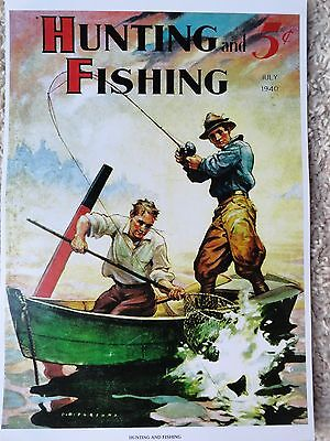 Hunting and Fishing Magazine Cover Poster, July 1940