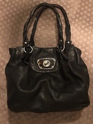 B Makowsky Large Hobo Tote Slouchy Shoulder Handbag Soft Black Leather