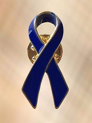 NEW Blue Ribbon Colon Cancer Free Speech Child Abuse Awareness Lapel Pin Brooch (Child Abuse Awareness Ribbon)