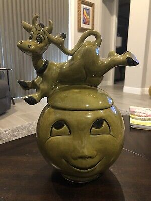 Vintage Cow Jumped Over The Moon smiling Cookie Jar Avocado Green Rare