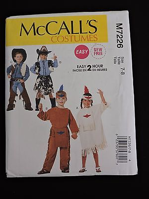 McCalls Costumes Easy 2 Hour Sewing Pattern M7226 Cowboy Western Halloween 7-8 - Children's Halloween Crafts Easy