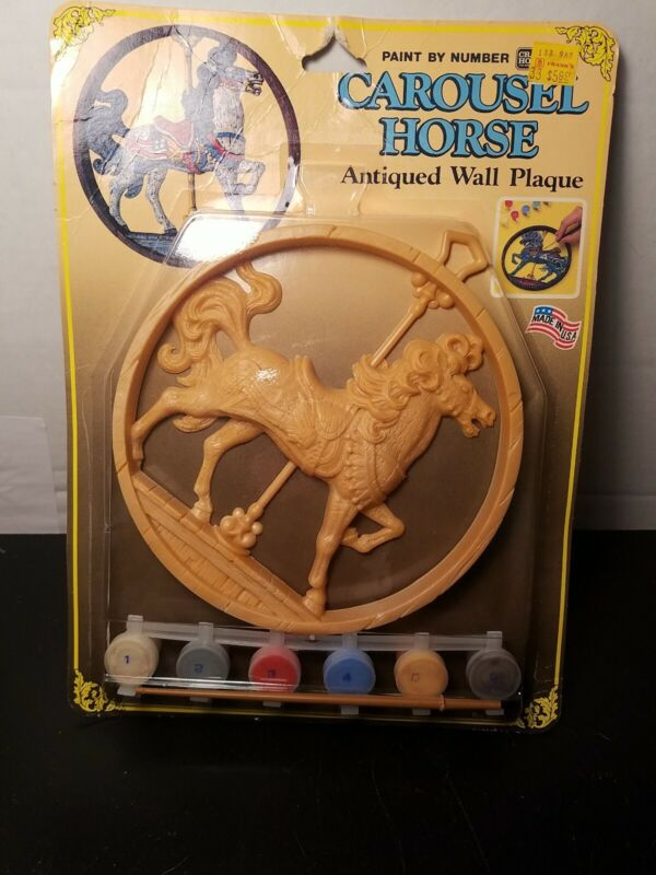 Vintage  Paint By Number Carousel Horse Antiqued Wall Plaque by Craft House New