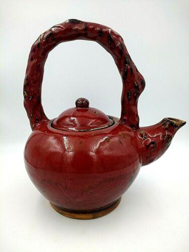 Vintage Chinese Oxblood Sang De Boeuf Oversize Ceramic Pottery Decorative Teapot