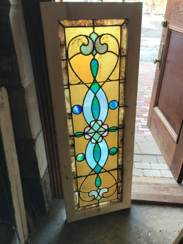 Sg 3251 Antique Stained Glass Transom Window 19 x 53
