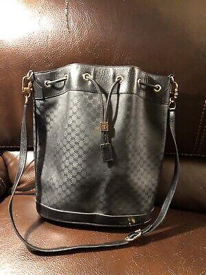 Authentic Gucci Vintage 1980's Black Logo Drawstring Bucket Bag