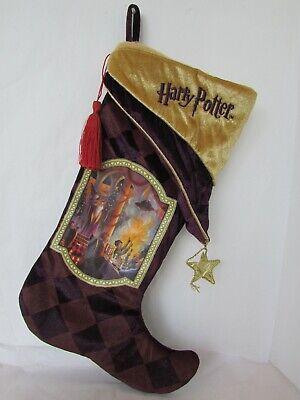 Harry Potter Plum Gold Velvet Christmas Stocking Hogwarts Dumbledore Scene