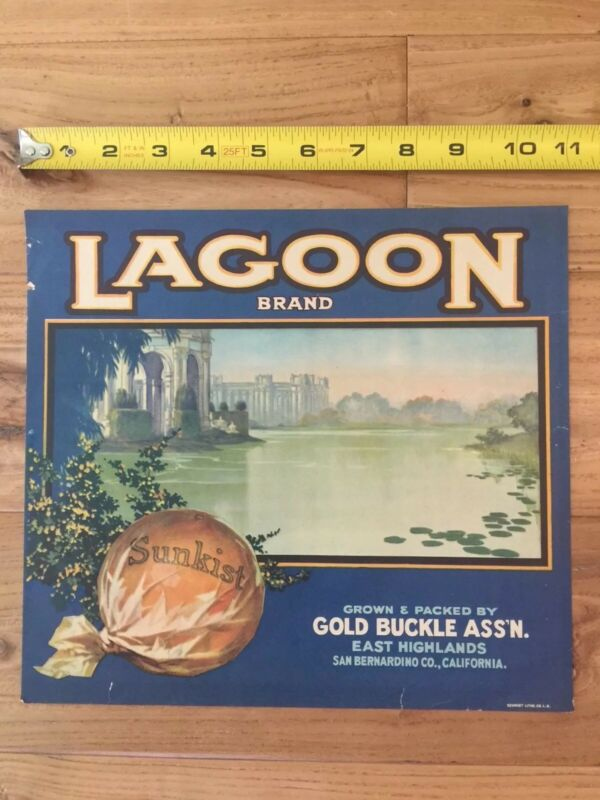 Antique Sunkist Label Lagoon Brand