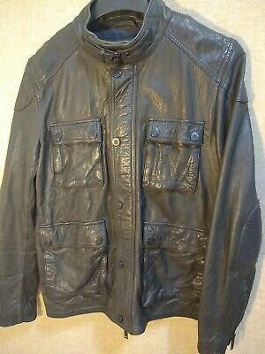 Superdry premium Men Genuine Leather Zip Up Button Jacket 54 Endurance Ed Sz XL
